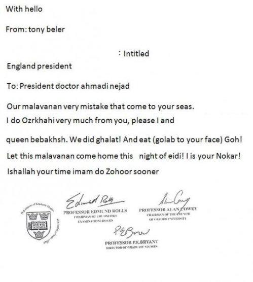 نامه عذر خواهی بلر